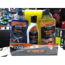 kit limpeza automotiva com lava autos, pretinho, esponja e silicone