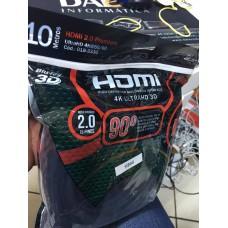 Cabo HDMI 2.0 4k ultrahd 3D 10 metros 90º