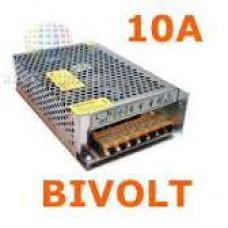 Fonte Chaveada Estabilizada 12V 10A Bivolt para ctv Led Automotivo Caixa Metálica
